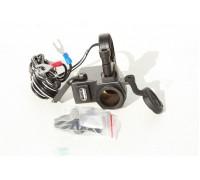 Гнездо зарядное (прикуриватель)12В+USB для крепления на руль мотоцикла