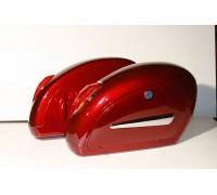 Кофры боковые жесткие (пластик) красные с габаритами