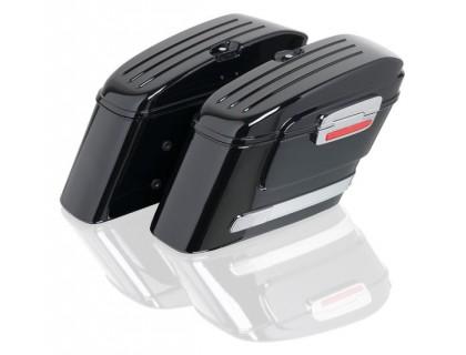 Боковые пластиковые кофры черного цвета модели HL для мотоцикла