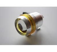 Светодиодный фонарь допсвета на дуги мотоцикла c желтой вставкой.