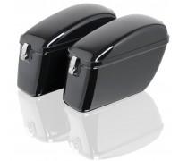 Боковые пластиковые (жесткие) кофры черного цвета для мотоцикла. Модель LW