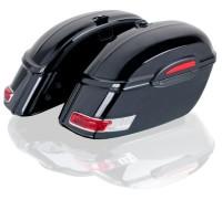 Кофры для мотоцикла боковые жесткие (пластик) черные с красными габаритами. Модель RS