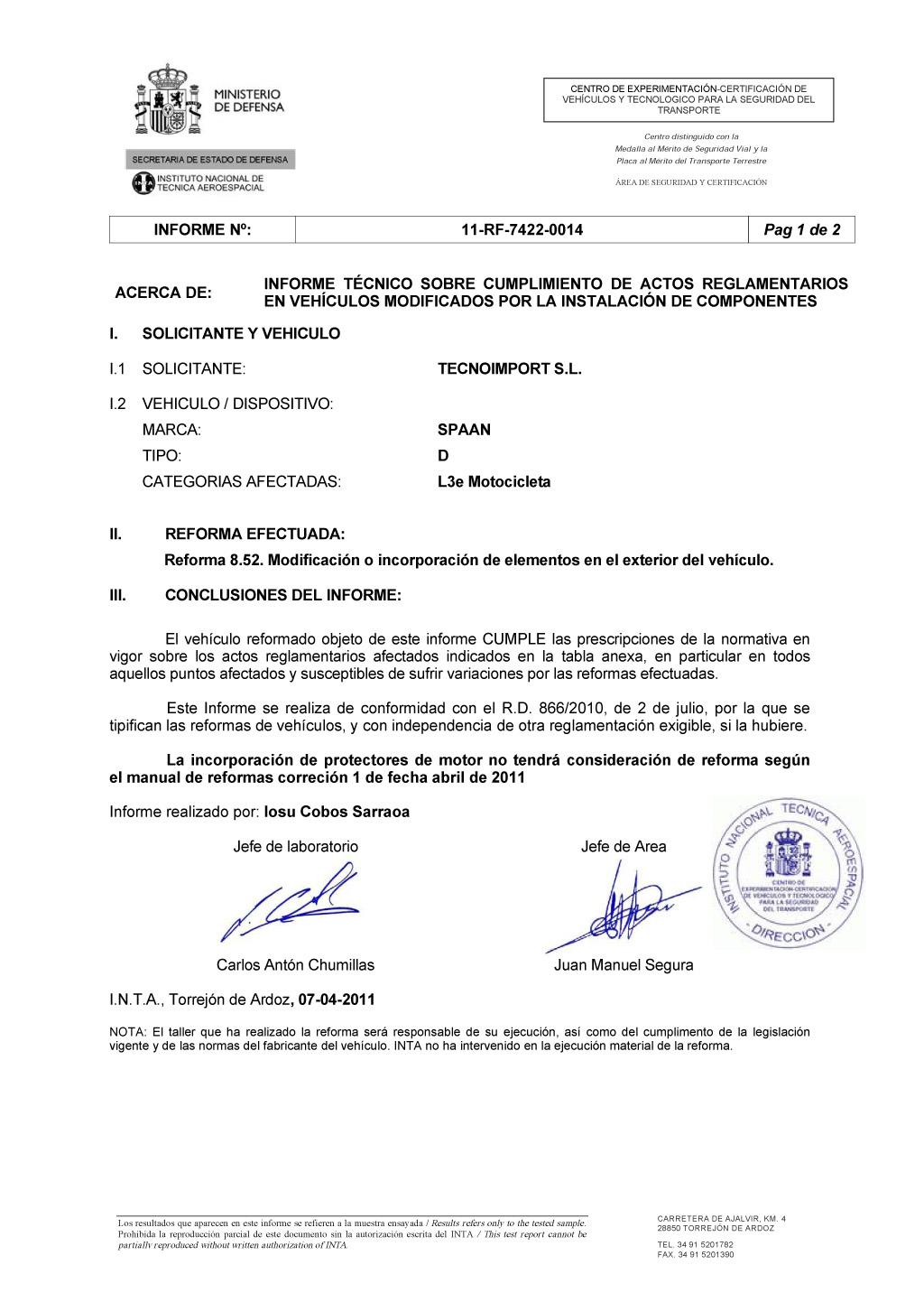 Сертификат INTA на дуги безопасностиSPAAN для мотоциклов