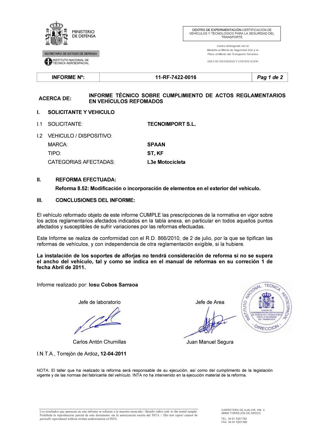 Сертификат INTA на лайтбарыSPAAN для мотоциклов