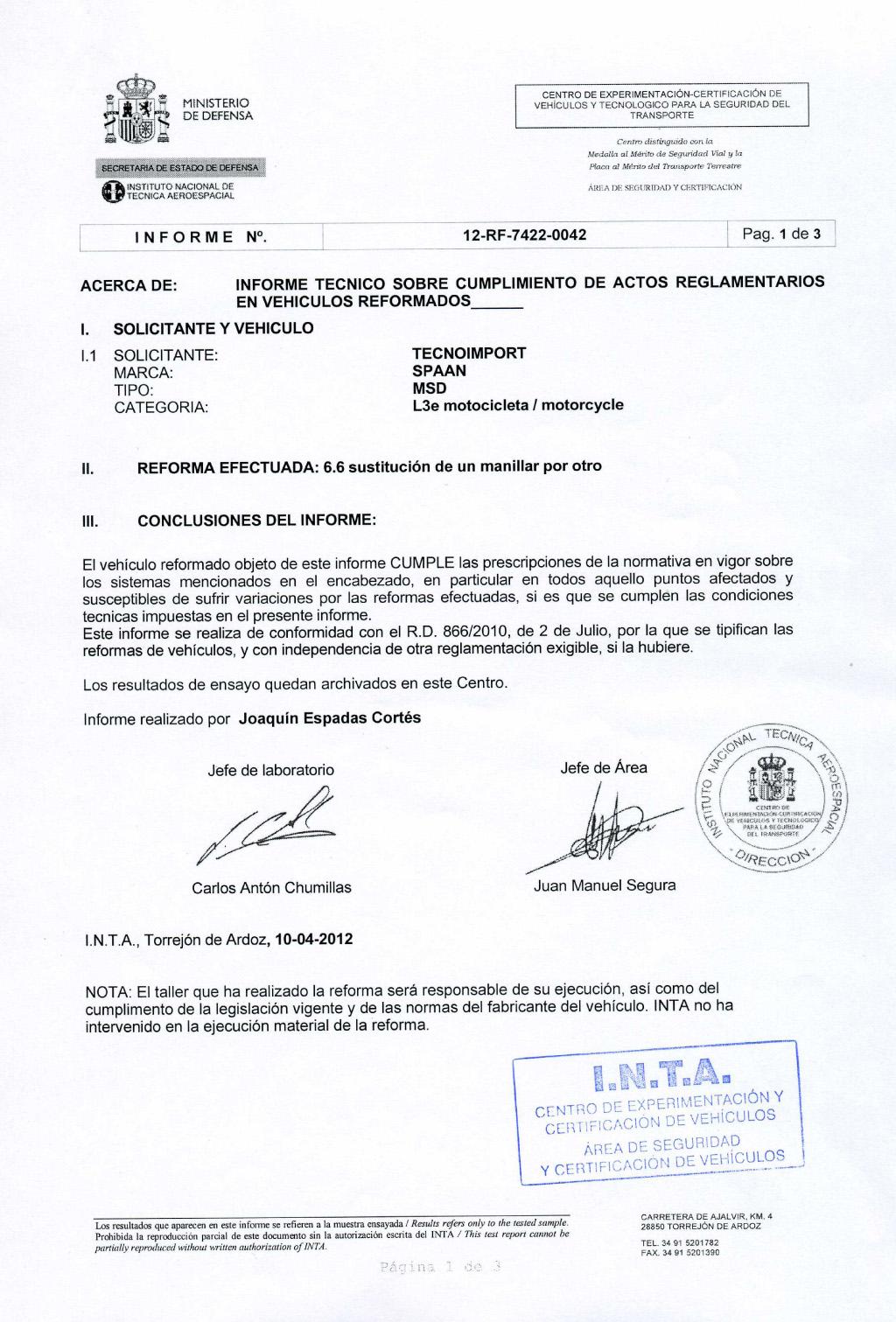 Сертификат INTA на рулевые дугиDrag Style SPAAN для мотоциклов