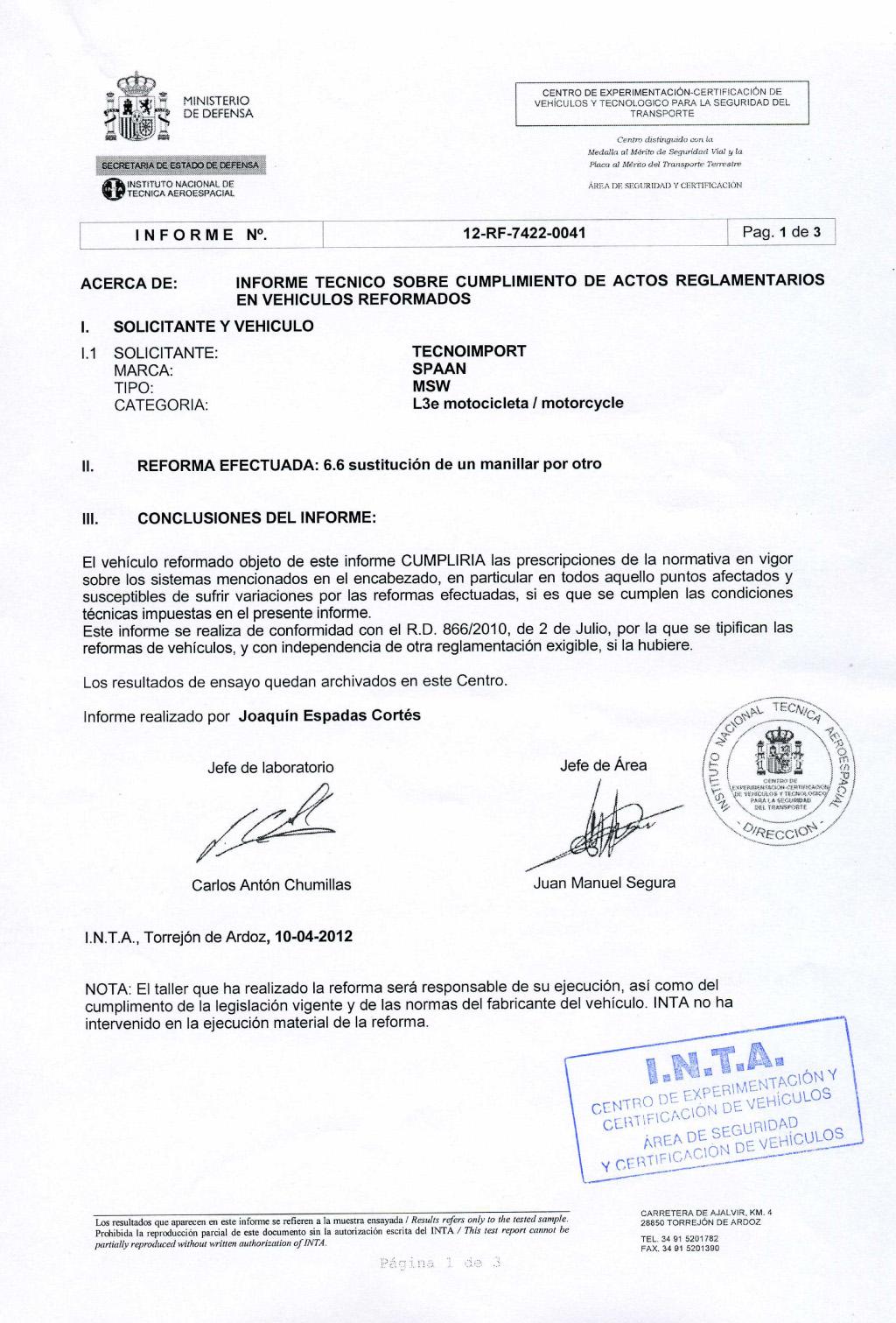 Сертификат INTA на рулевые дугиStreet Low SPAAN для мотоциклов