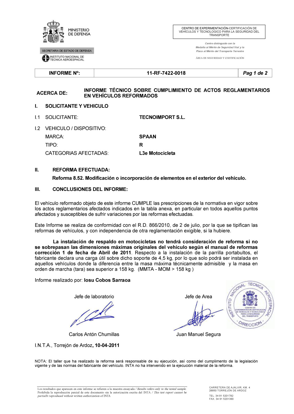 Сертификат INTA на спинки пассажира с багажникомSPAAN для мотоциклов