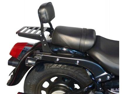 Низкая черная спинка SPAAN с багажником для мотоцикла Daelim DAYSTAR Black Plus 125 Fi / Dark Plus 125 Fi / Grey Plus 125 Fi