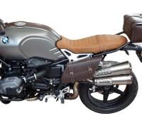 Боковой коричневый кожаный кофр SPAAN для мотоцикла BMW R NineT (правая сторона)
