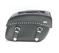 Кофры для мотоцикла боковые кожаные с клепками с системой Klick Fix (41х28х17см)