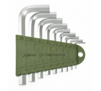 Набор ключей шестигранных 10 шт. коротких (1.5,2,2.5,3,4,5,6,7,8,10 мм)