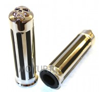 Ручки на руль (грипсы) Ø25мм хромированные с черепом и резиновыми вставками.