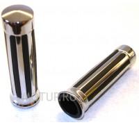 Ручки на руль (грипсы) Ø25мм хромированные с резиновыми вставками.