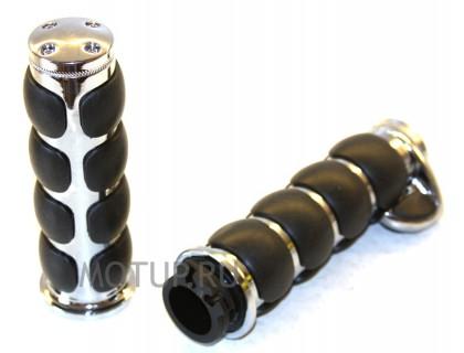Ручки на руль 25мм хромированные с круизом упором и резиновыми вставками.