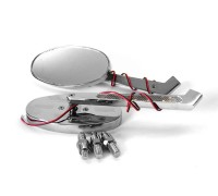 Комплект боковых зеркал со встроенными поворотниками для мотоцикла. Металл (хром)