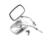 Комплект прямоугольных зеркал для мотоцикла Harley Davidson. Металл (хром)