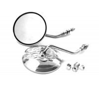 Комплект круглых зеркал для мотоцикла. Металл (хром)