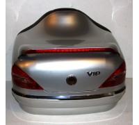 Кофр задний (пластик) под авто серебристый с габаритами и спойлером