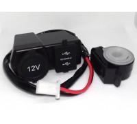 Прикуриватель с портом USB на руль мотоцикла и индикатором