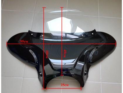 Батвинг, обтекатель универсальный для мотоцикла большой черный
