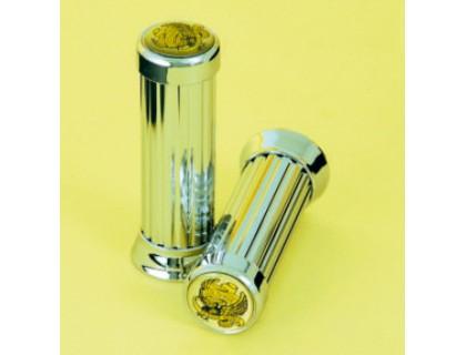 Декоративные ручки на руль (грипсы). С орлом Ø25мм. Металл (хром)