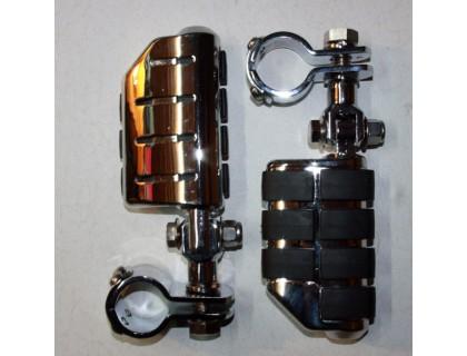 Подножки для мотоцикла хромированные с хомутами 28 мм