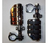 Подножки для мотоцикла хромированные с хомутами 38 мм