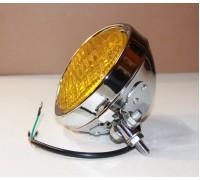 Фара желтая на люстру для мотоцикла, хромированная