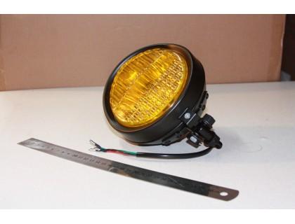 Фара желтая на люстру для мотоцикла, корпус черный матовый