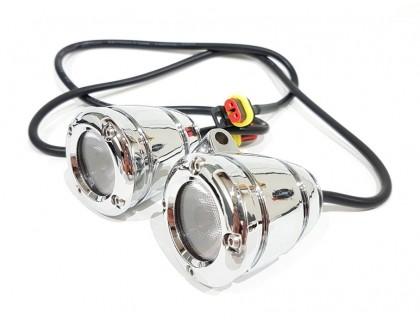 Светодиодные фонари доп. света на дуги мотоцикла. Хромированные.