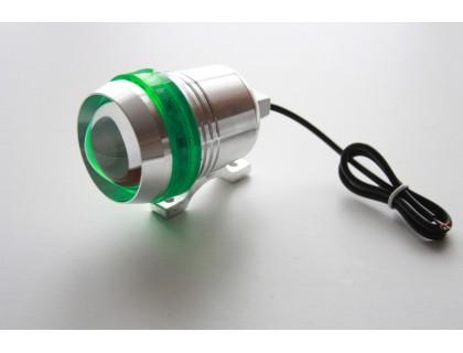 Светодиодный фонарь допсвета на дуги мотоцикла c зеленой вставкой.