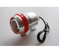 Светодиодный фонарь допсвета на дуги мотоцикла c красной вставкой.