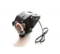 Светодиодный фонарь допсвета на дуги мотоцикла в защитном корпусе.