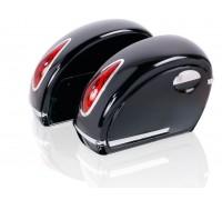 Кофры боковые жесткие (пластик) черный с красными габаритами. Дизайн MUTAZU